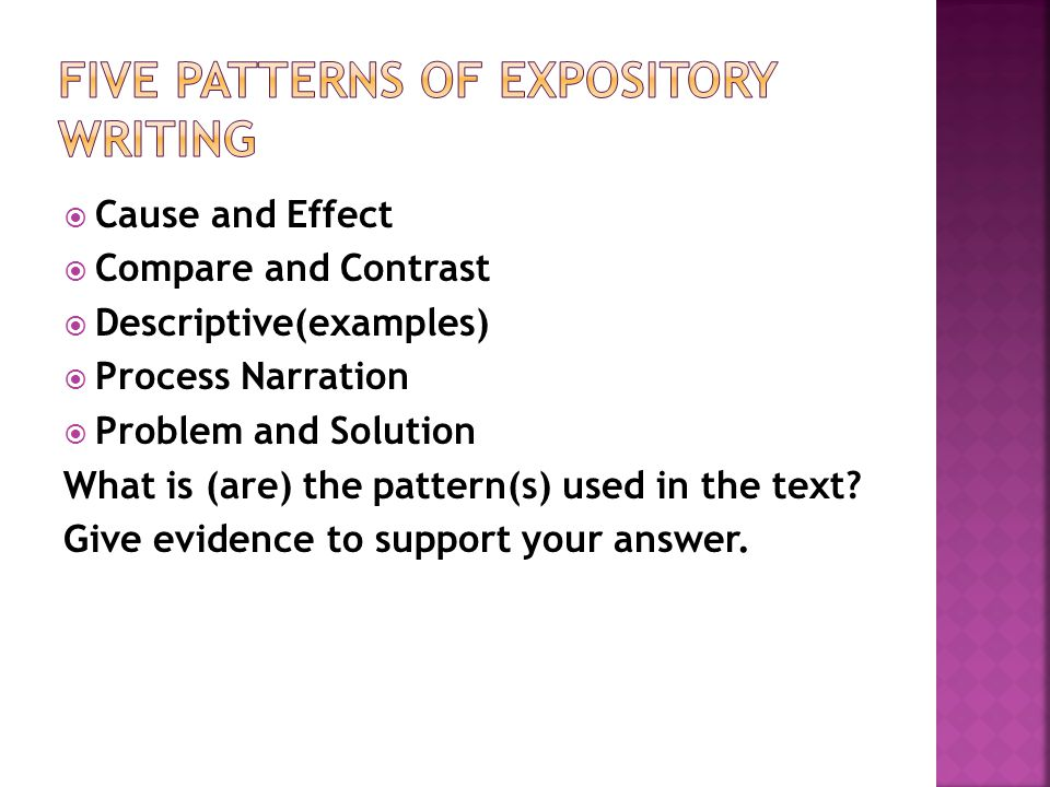 Five patterns of expository writing