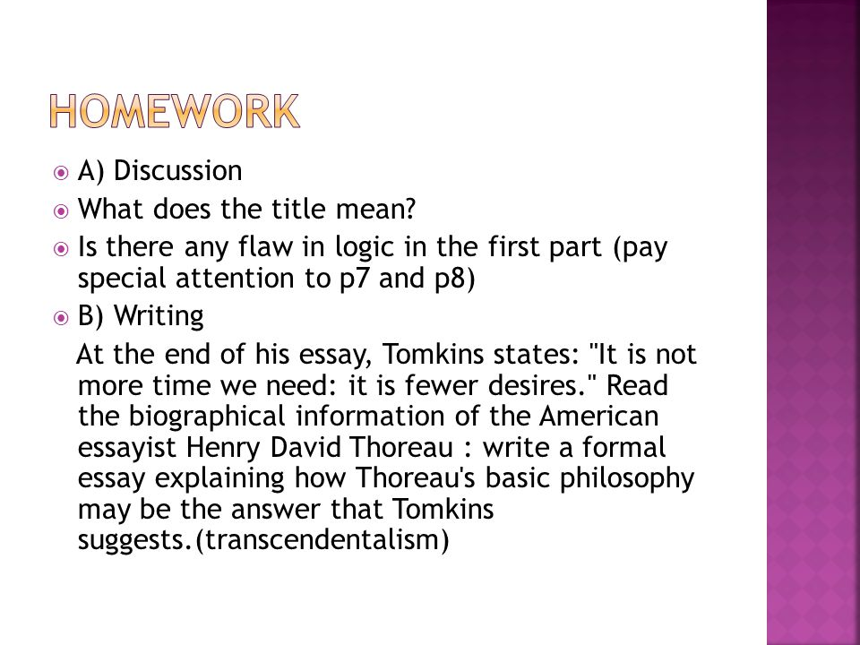 homework A) Discussion What does the title mean