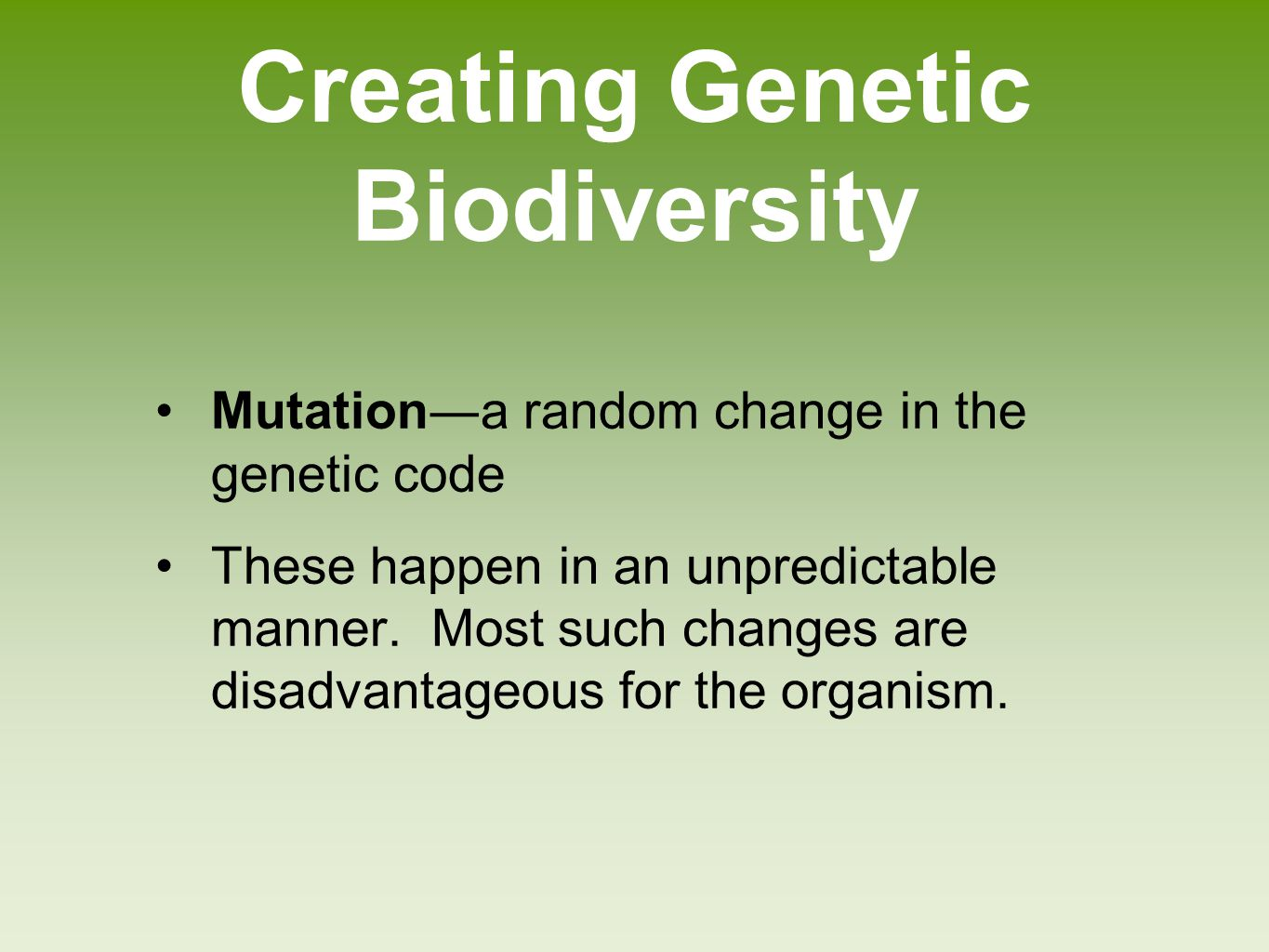 Creating Genetic Biodiversity