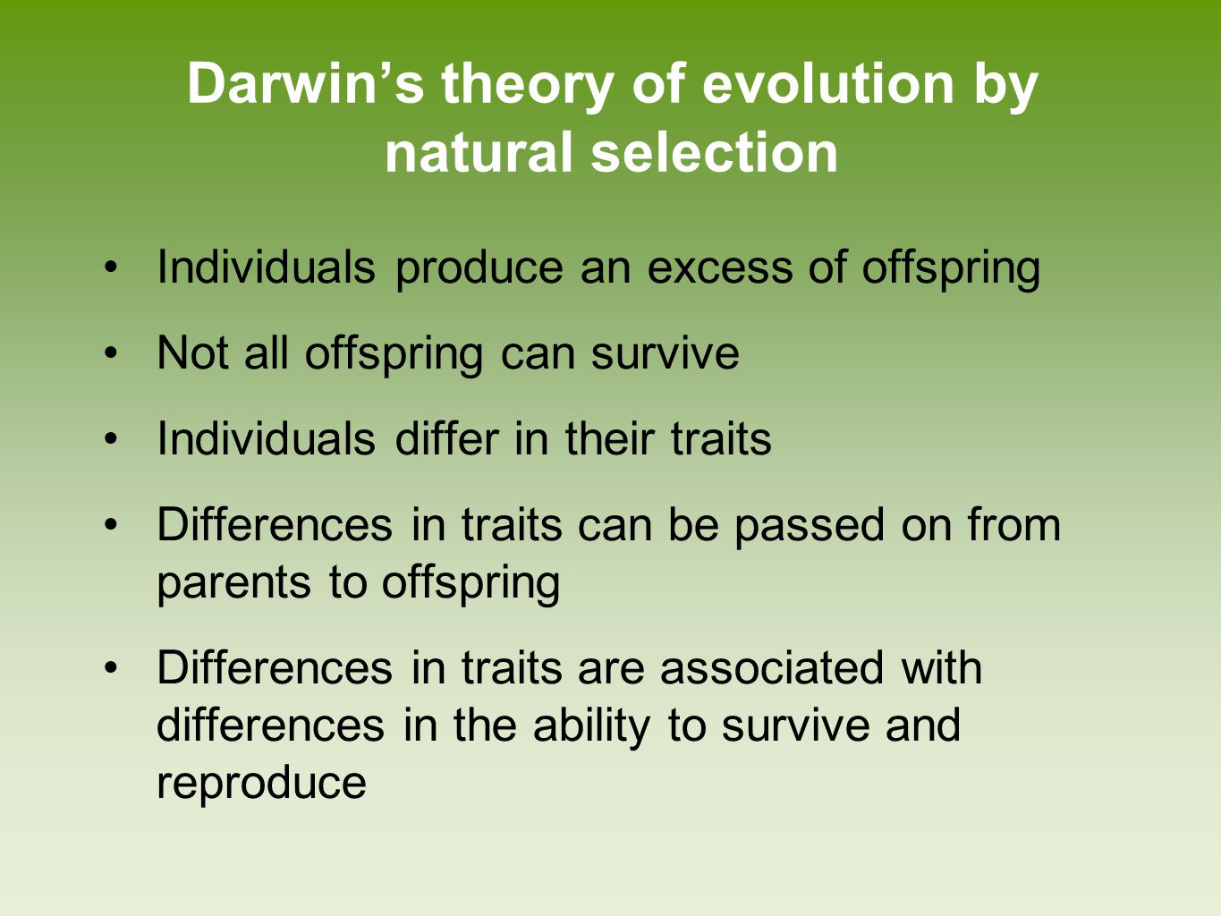 Darwin's theory of evolution by natural selection