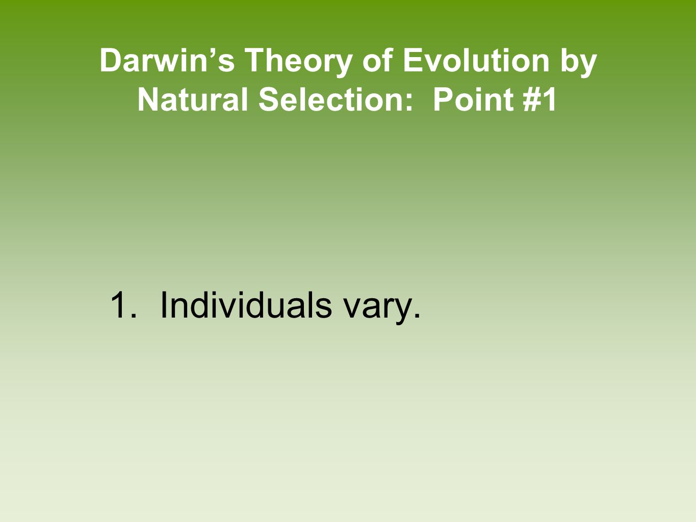 Darwin's Theory of Evolution by Natural Selection: Point #1