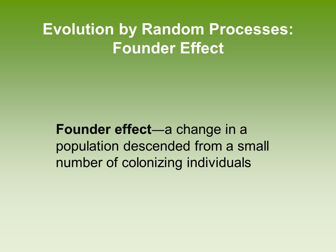 Evolution by Random Processes: Founder Effect