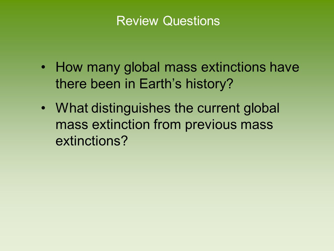 How many global mass extinctions have there been in Earth's history