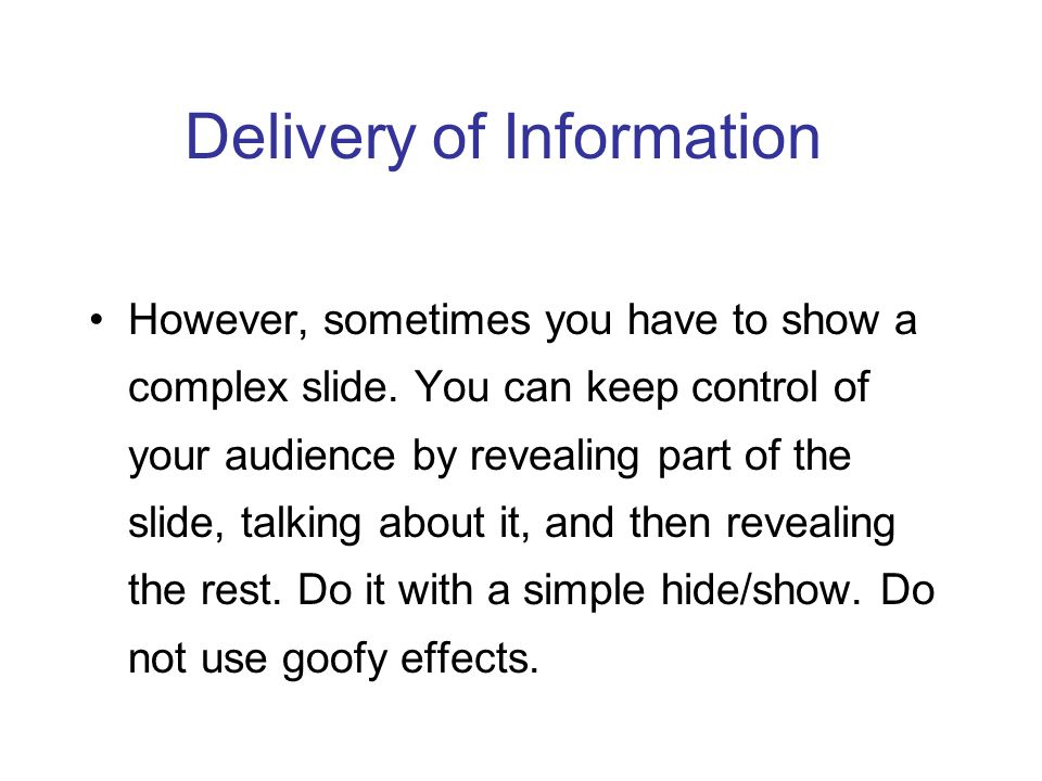 Delivery of Information