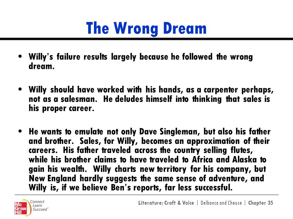 The Wrong Dream Willy's failure results largely because he followed the wrong dream.