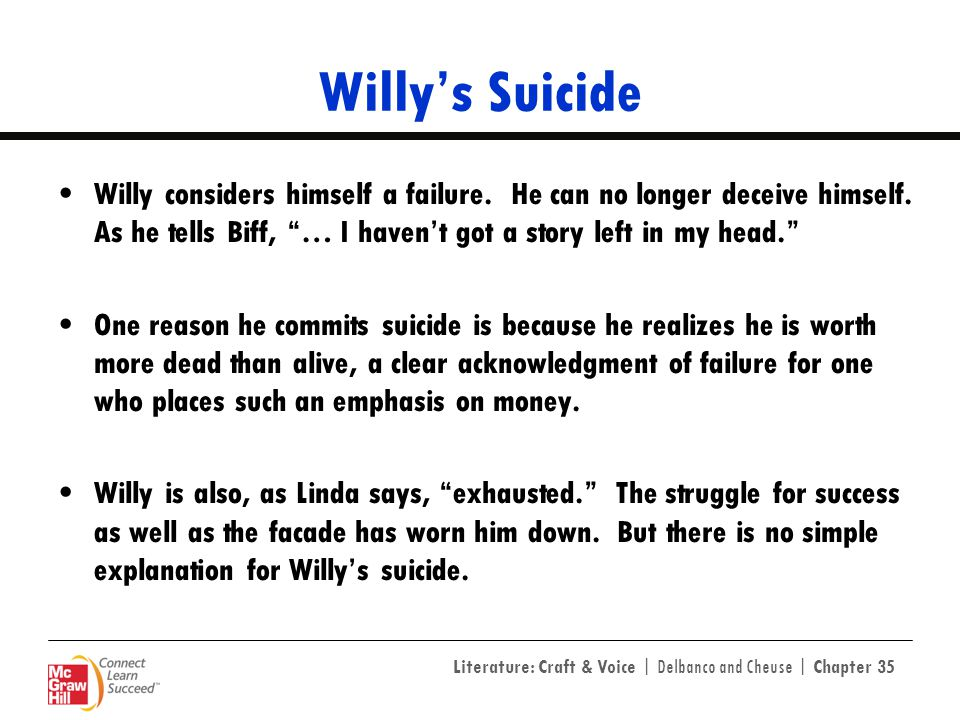 Willy's Suicide Willy considers himself a failure. He can no longer deceive himself. As he tells Biff, … I haven't got a story left in my head.