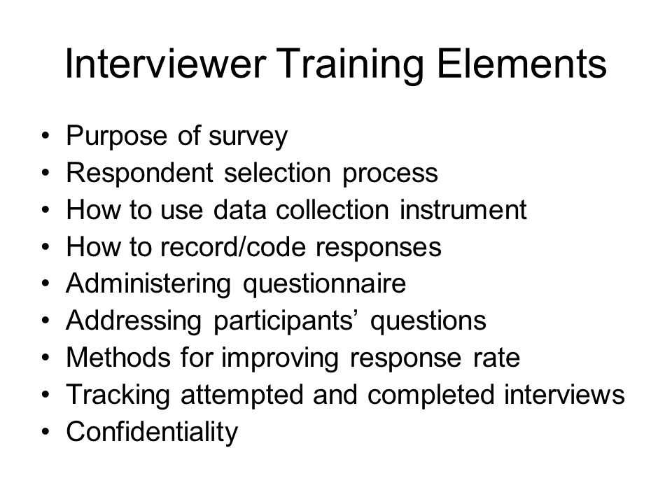 Interviewer Training Elements