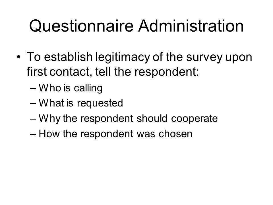 Questionnaire Administration