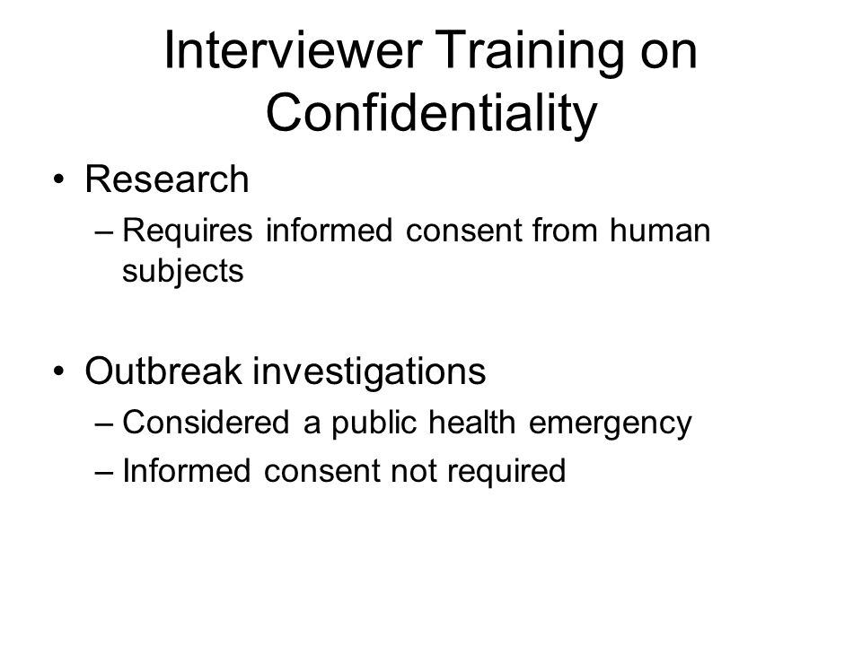 Interviewer Training on Confidentiality