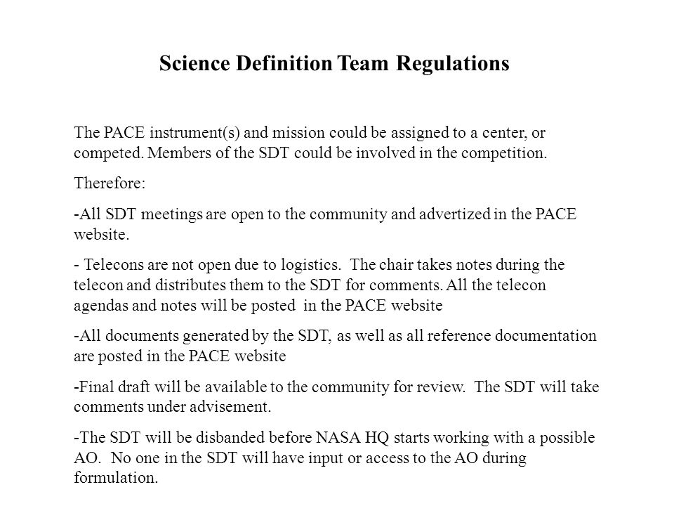Science Definition Team Regulations