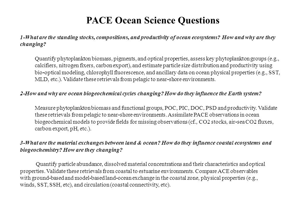 PACE Ocean Science Questions