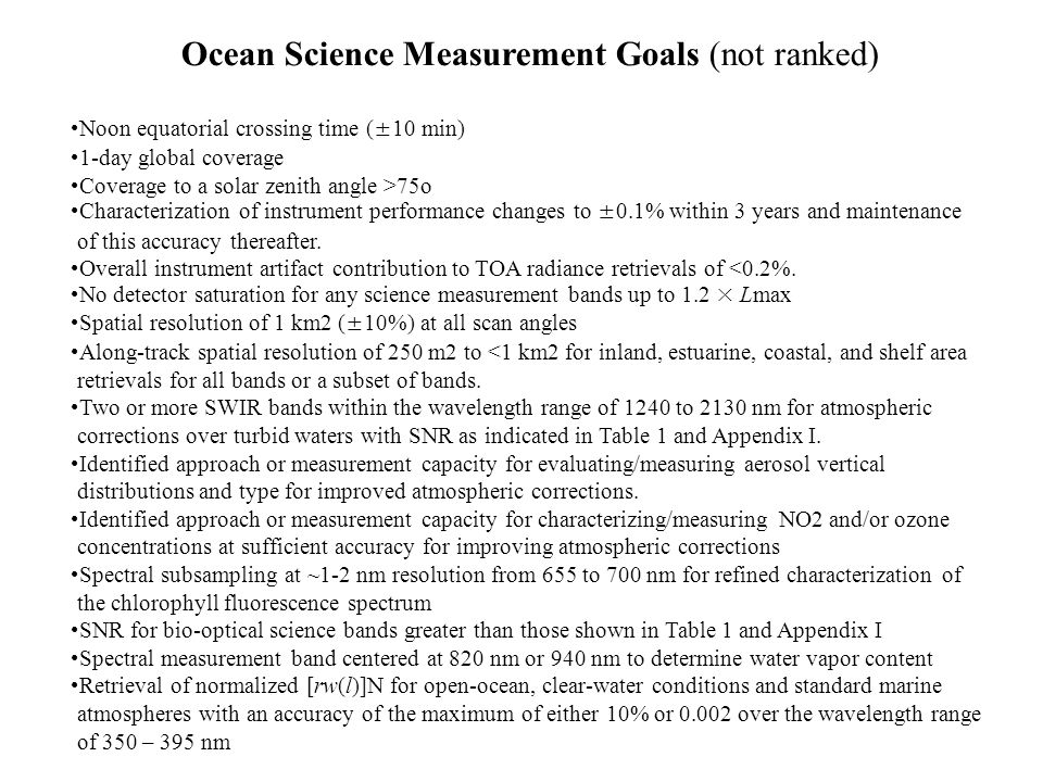 Ocean Science Measurement Goals (not ranked)