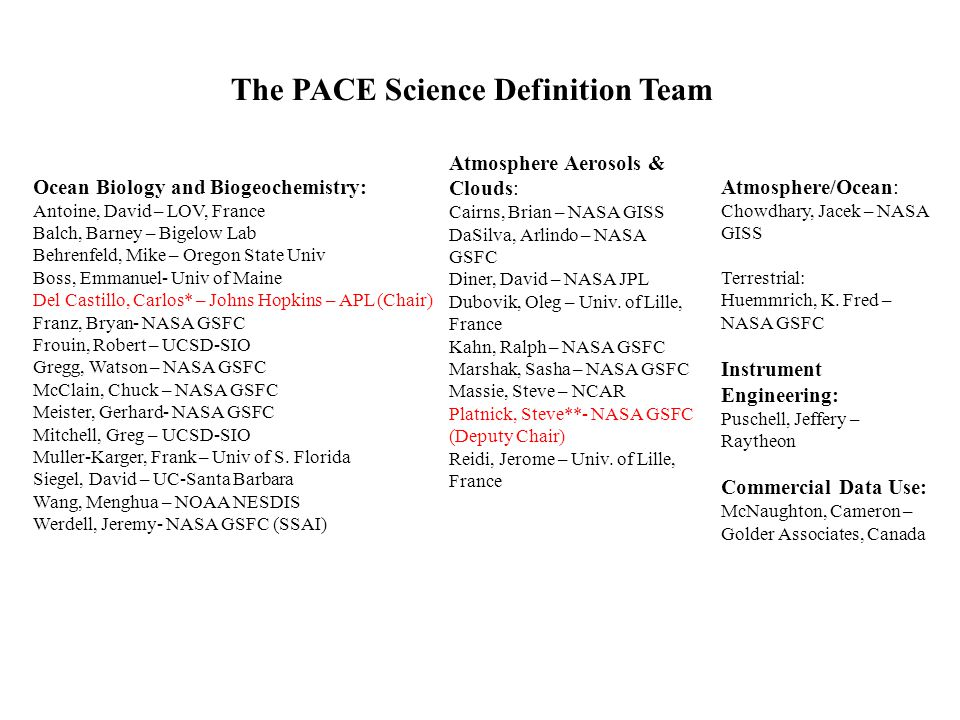 The PACE Science Definition Team