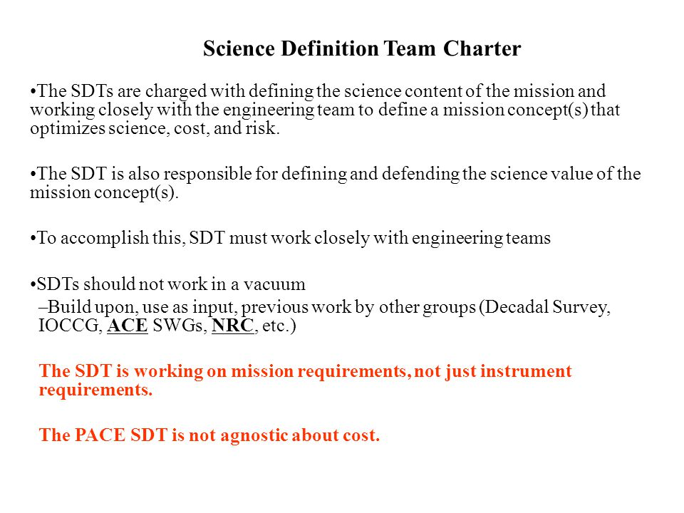 Science Definition Team Charter