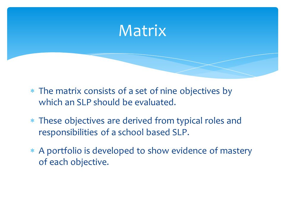 Matrix The matrix consists of a set of nine objectives by which an SLP should be evaluated.