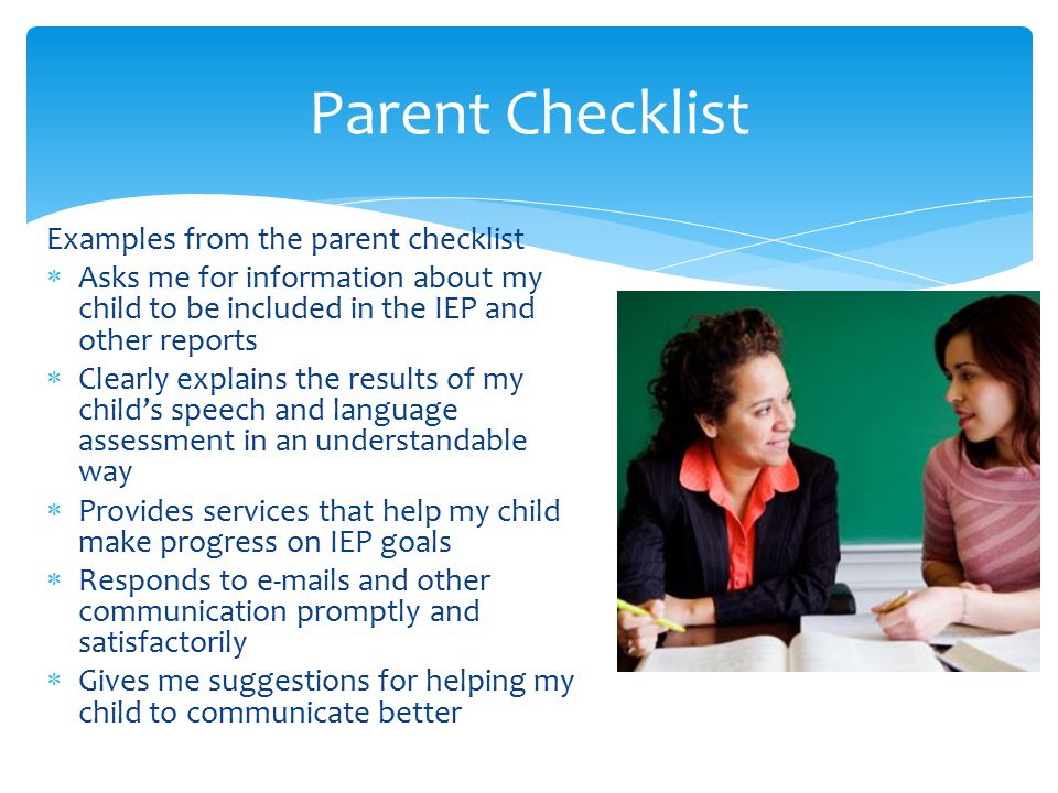 Parent Checklist Examples from the parent checklist