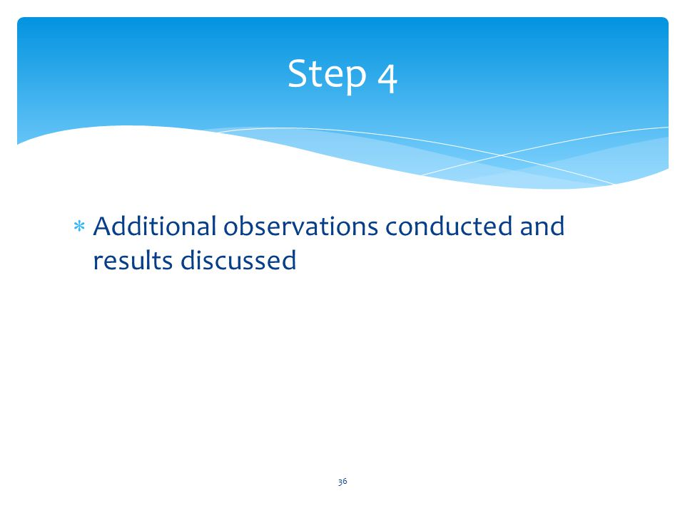 Step 4 Additional observations conducted and results discussed