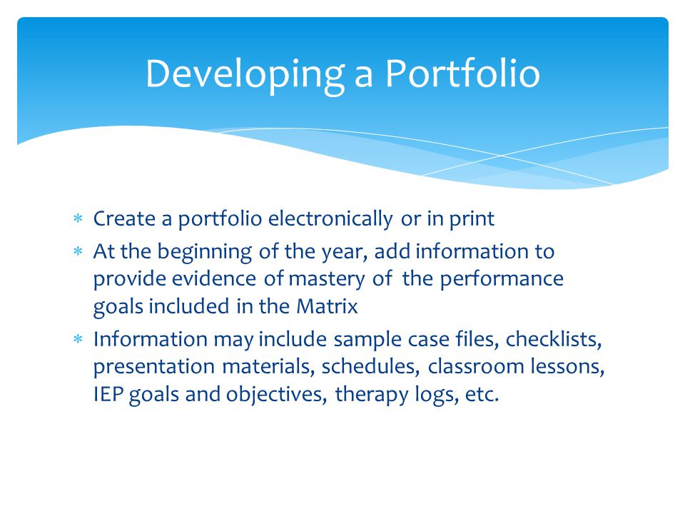 Developing a Portfolio
