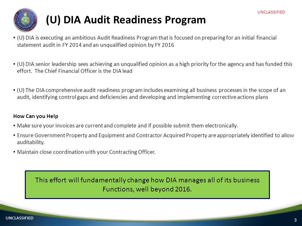(U) DIA Audit Readiness Program