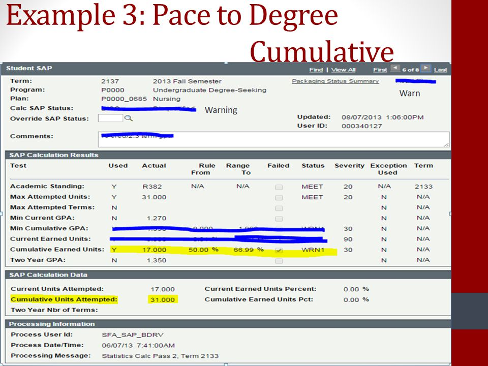 Example 3: Pace to Degree Cumulative