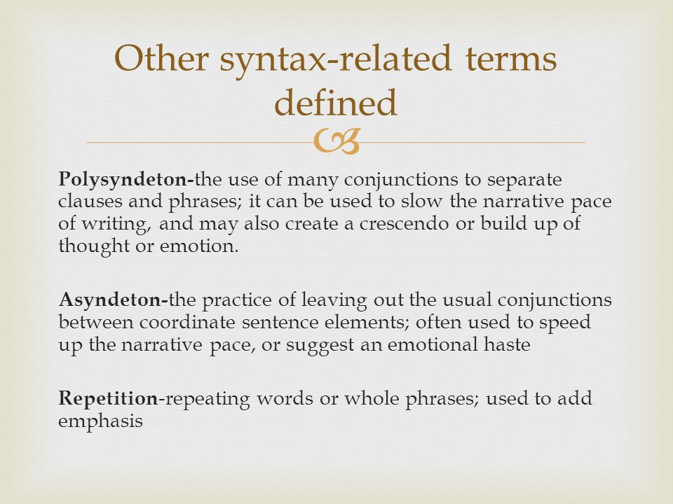 Other syntax-related terms defined