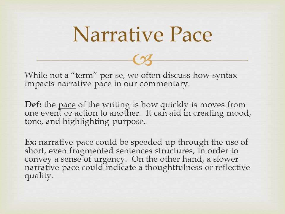 Narrative Pace