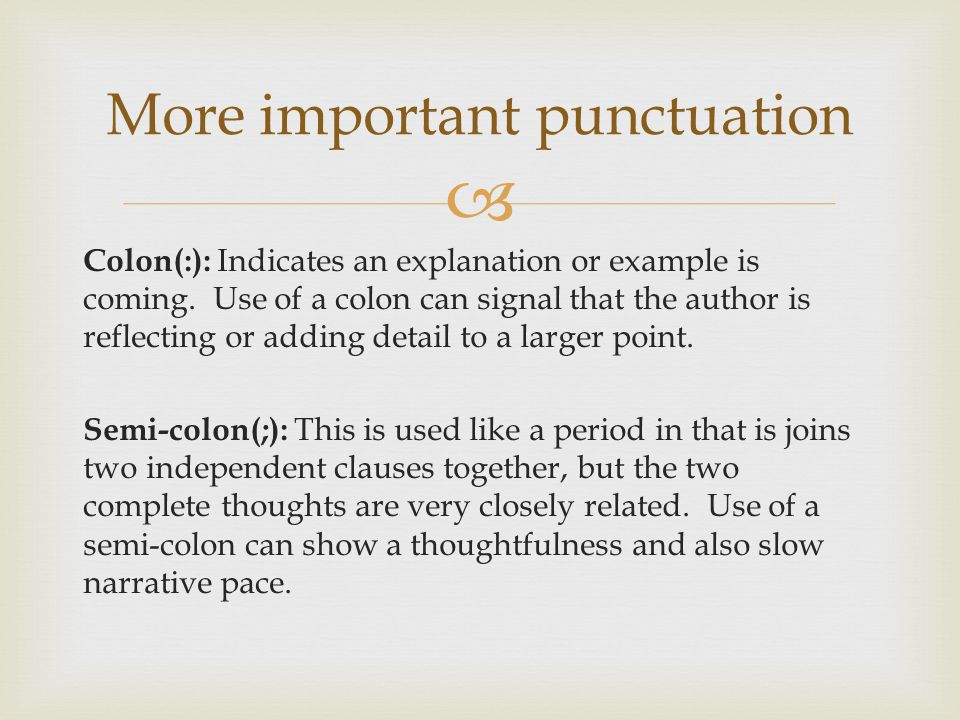 More important punctuation