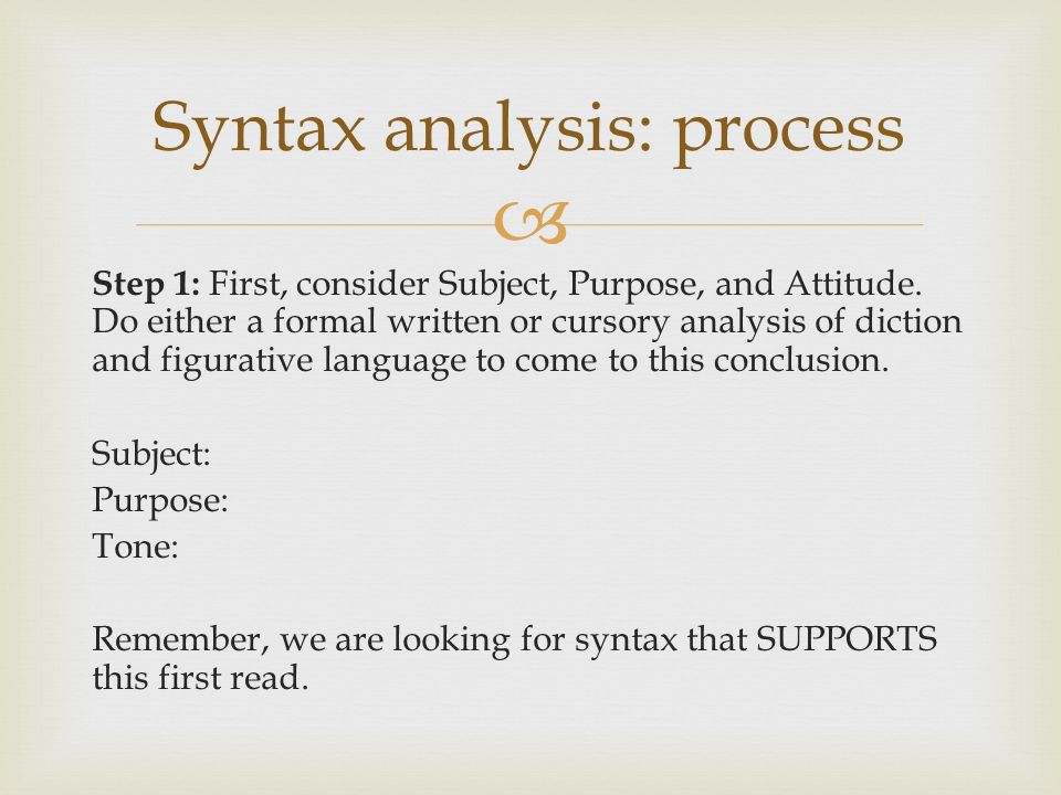 Syntax analysis: process