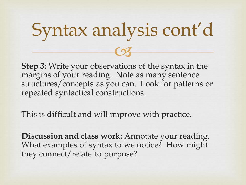 Syntax analysis cont'd