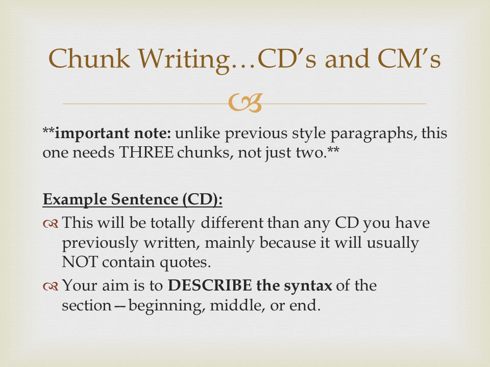 chunk style essay Essays chunk your writing into manageable units previous page chunk your writing into manageable units your cal also make your writing easier to read by chunking it.