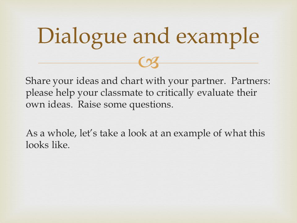 Dialogue and example