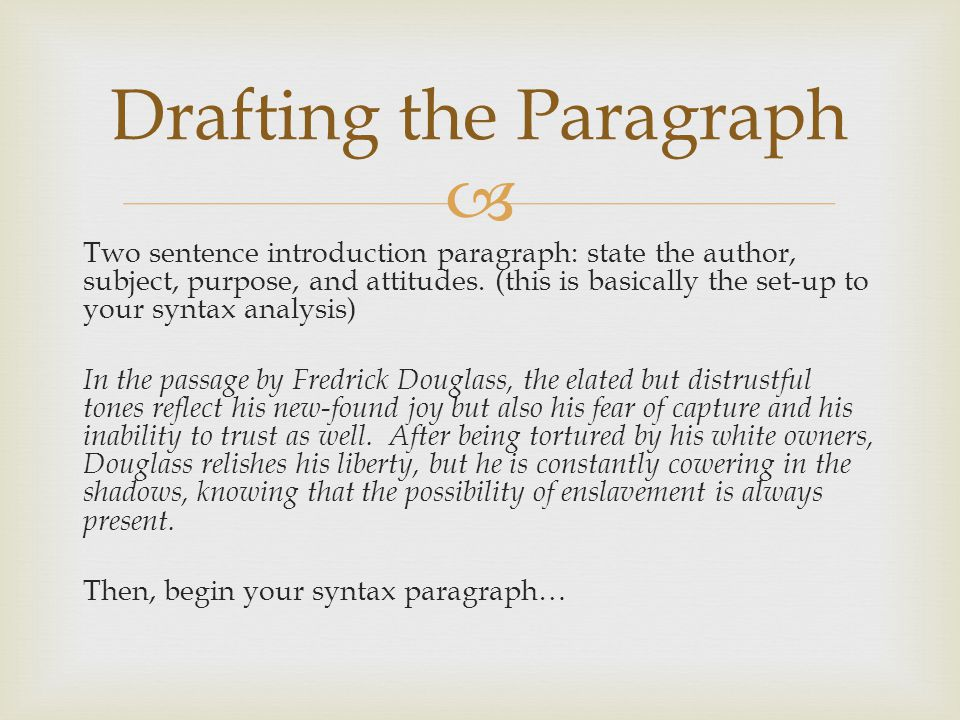 Drafting the Paragraph