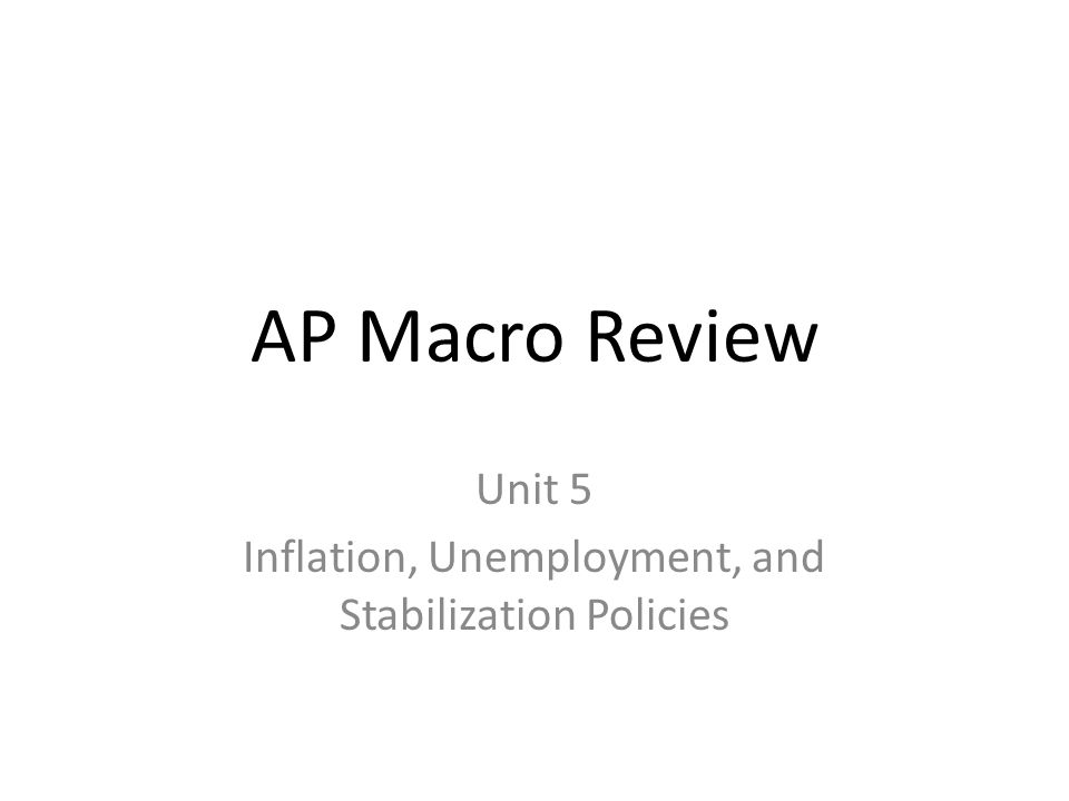 Unit 5 Inflation, Unemployment, and Stabilization Policies