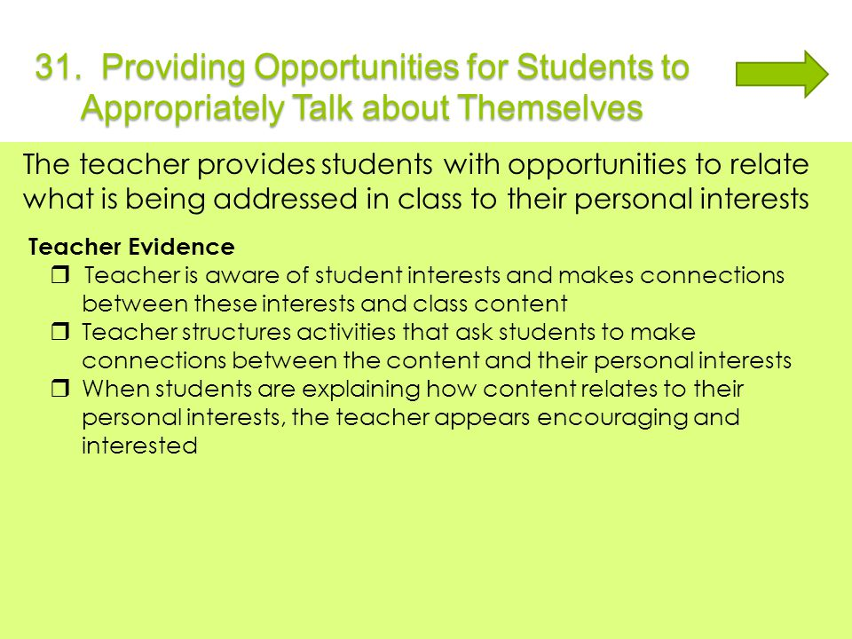 31. Providing Opportunities for Students to Appropriately Talk about Themselves