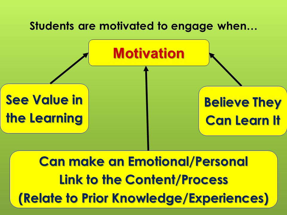 Students are motivated to engage when…