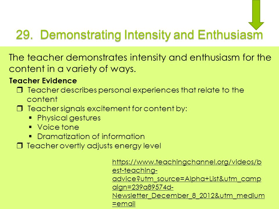 29. Demonstrating Intensity and Enthusiasm