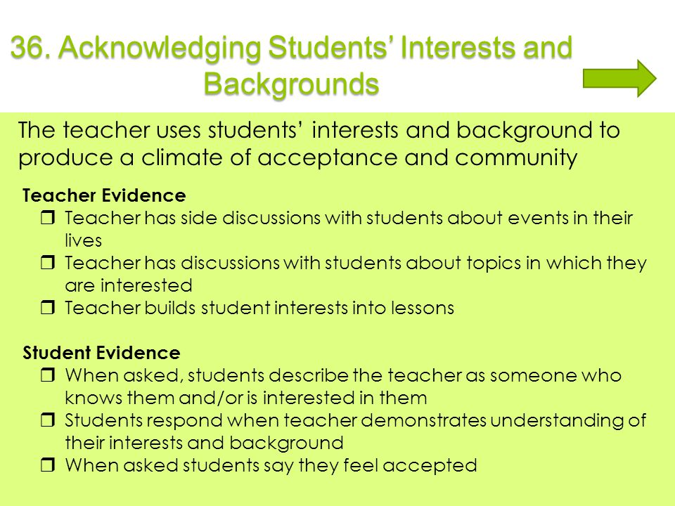 36. Acknowledging Students' Interests and Backgrounds