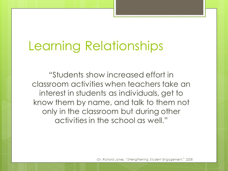 Learning Relationships