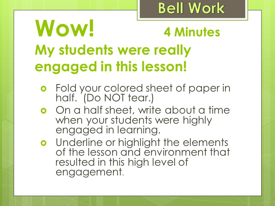 Wow! 4 Minutes My students were really engaged in this lesson!
