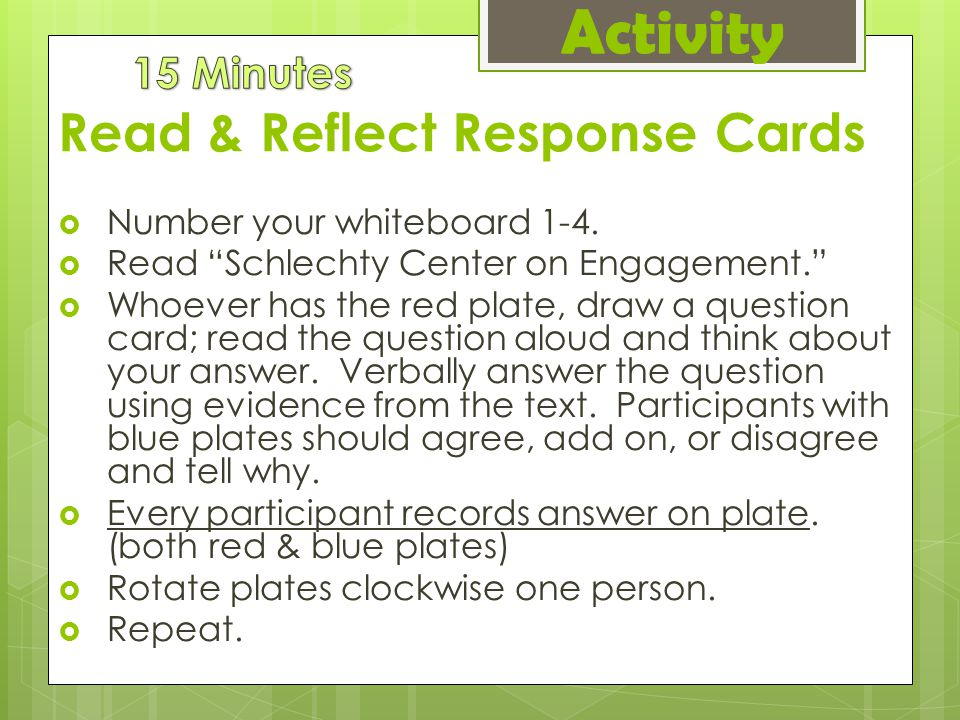 Read & Reflect Response Cards