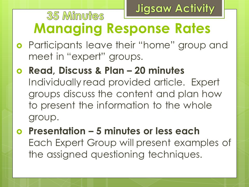 Managing Response Rates