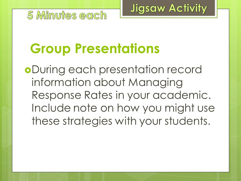 Group Presentations Jigsaw Activity 5 Minutes each