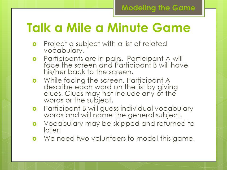 Talk a Mile a Minute Game