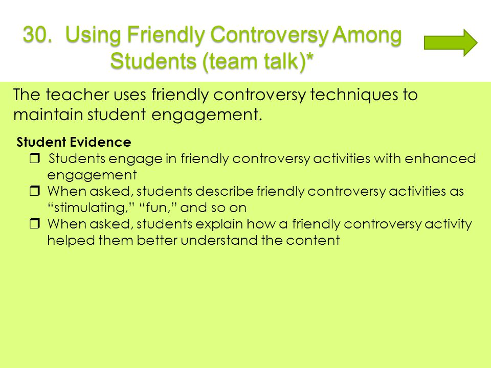 30. Using Friendly Controversy Among Students (team talk)*