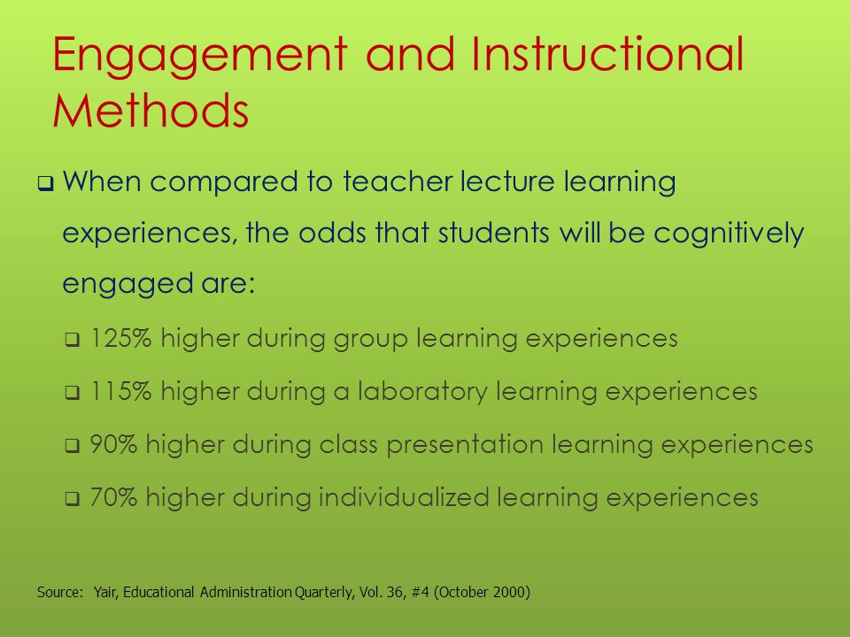 Engagement and Instructional Methods