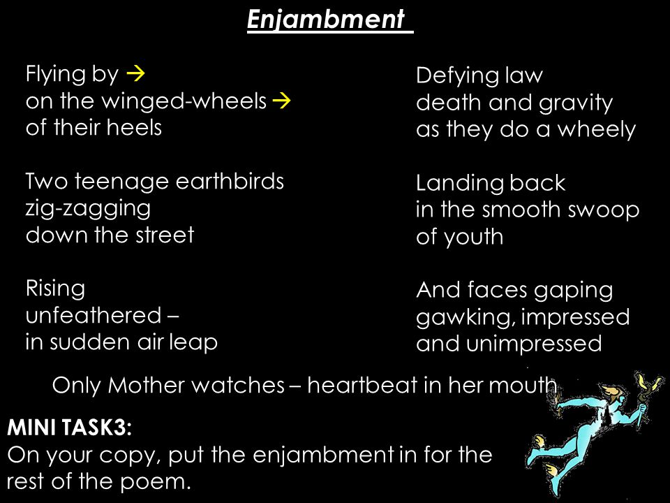 Enjambment Flying by  Defying law