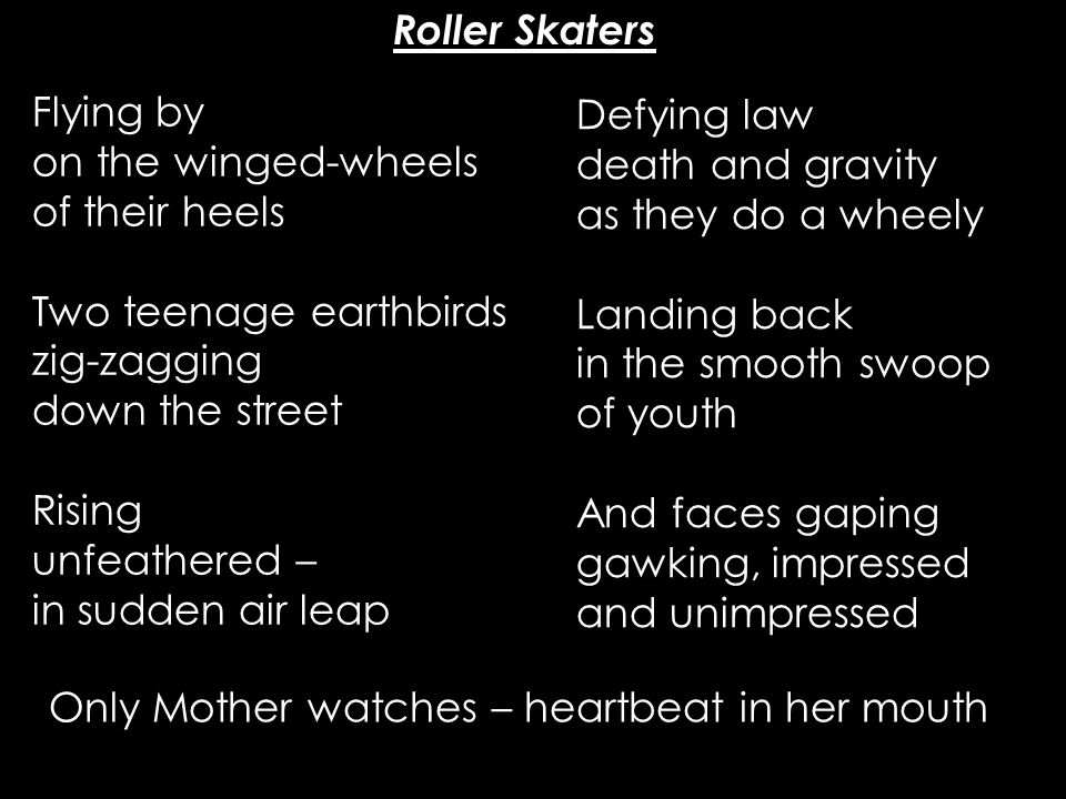 Roller Skaters Flying by. on the winged-wheels. of their heels. Two teenage earthbirds. zig-zagging.