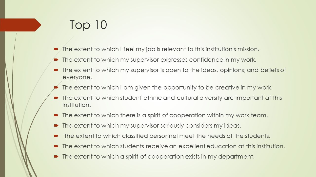 Top 10 The extent to which I feel my job is relevant to this institution s mission.