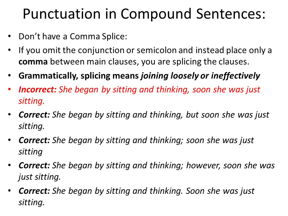 Punctuation in Compound Sentences: