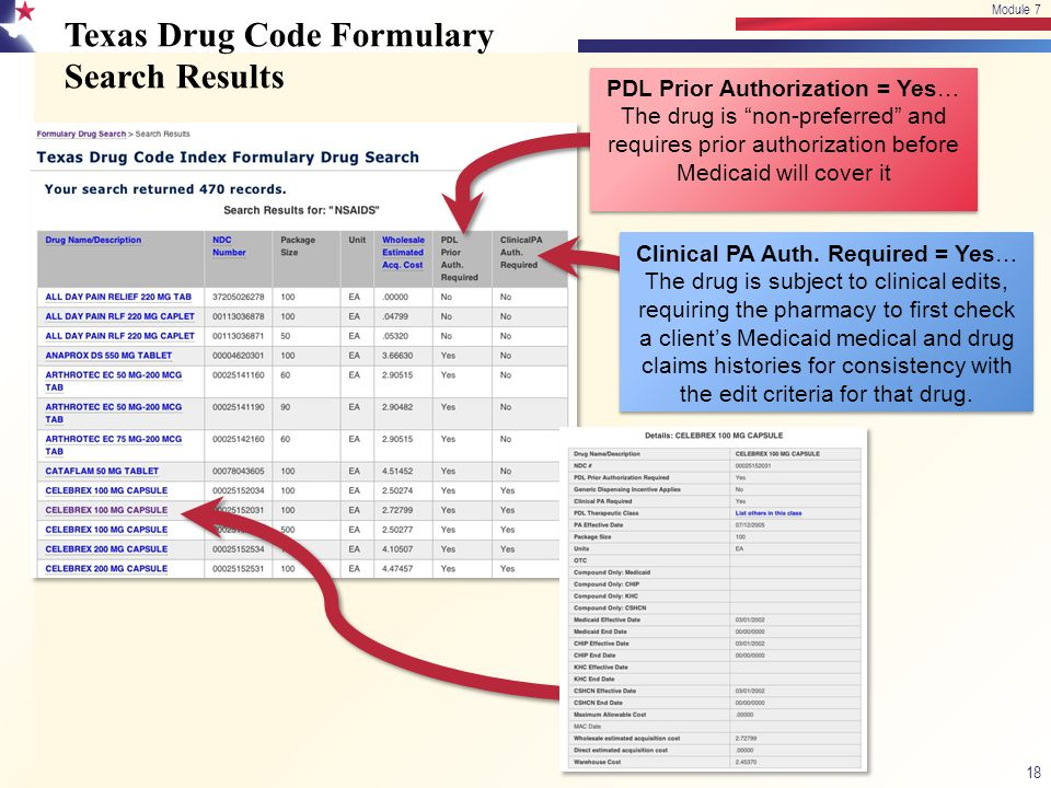 Texas Drug Code Formulary Search Results